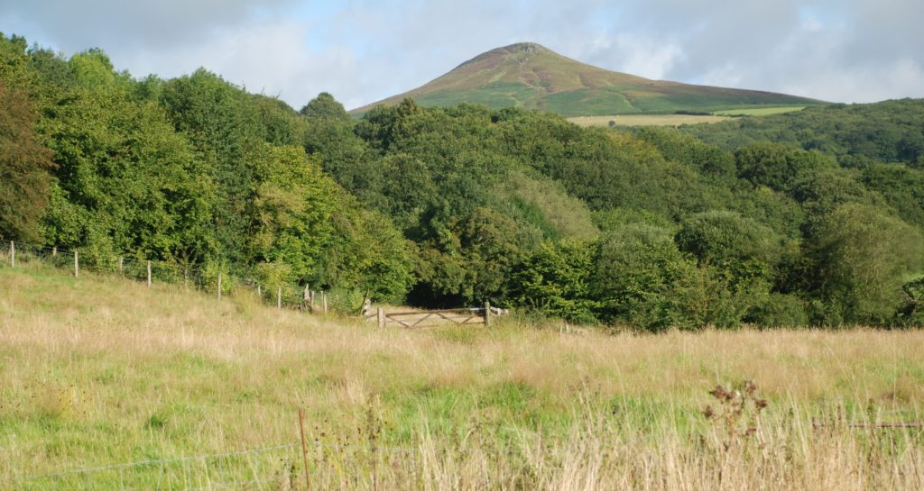 The view up to Sugar Loaf from our holiday cottages in the Brecon Beacons